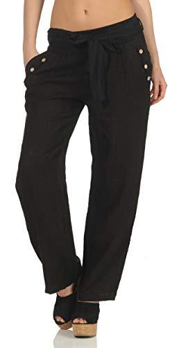 Malito Damen Hose aus Leinen   Stoffhose in Unifarben   feine Freizeithose mit Gürtel   Chino 8174 (schwarz, M)