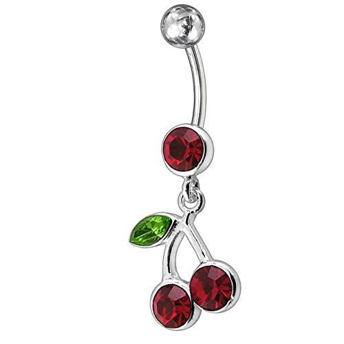 Piercing ombligo colgante con rojo cereza 925 barra joya de plata 316l acero quirúrgico de alta calidad