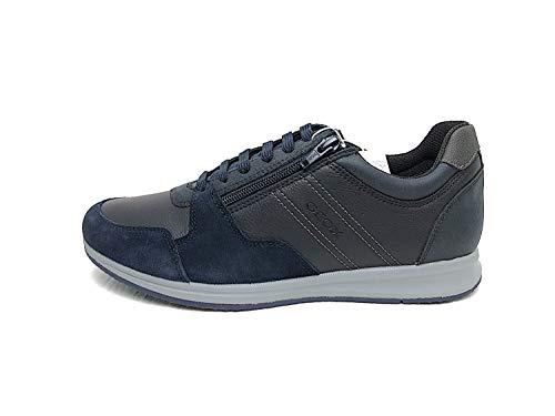 Geox Herren Schnürhalbschuhe Avery, Männer sportlicher Schnürer,lose Einlage, leger schnürschuh strassenschuh Sneaker Derby,BLAU,43 EU / 9 UK
