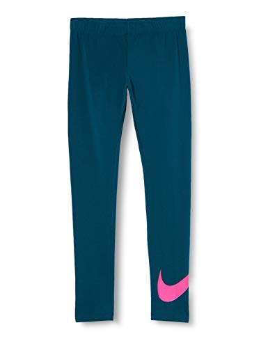 Nike Mädchen Sport Trousers G NSW Favorites SWSH Tight, Midnight Turq/(fire pink), L, AR4076