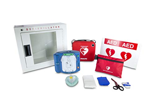 Philips HeartStart OnSite AED Defibrillator Business Package with Slim AED Carry Case, AED Wall Sign, Fast Response Kit and AED Basic Cabinet (M5066A-RO1)