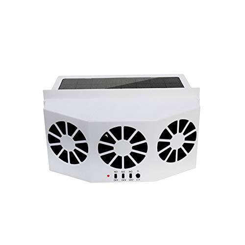 Iycorish Ventilador para Automóvil Ventilación Solar para Automóvil Tres Campana Ventilador De Escape Automático Radiador Desatemperador Solar para Automóvil Potente Blanco
