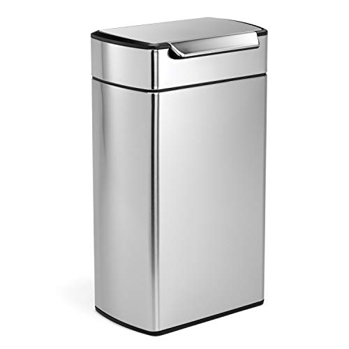 simplehuman 40 Liter / 10.6 Gallon Stainless Steel Touch-Bar Kitchen Trash Can, Brushed Stainless...