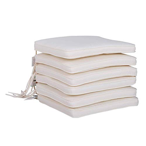 Outsunny Set of 6 Chair Cushion Seat Pads Dining Chair w/Straps Indoor Outdoor Removable Tie On Garden Patio Cream White