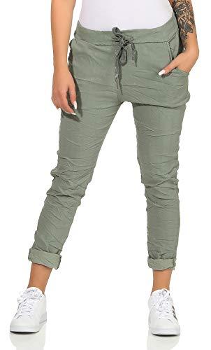 CLEO STYLE Damen Jogginghose im Vintage Look Sweatpants für Freizeit Sport und Fitness 88 (Grün)