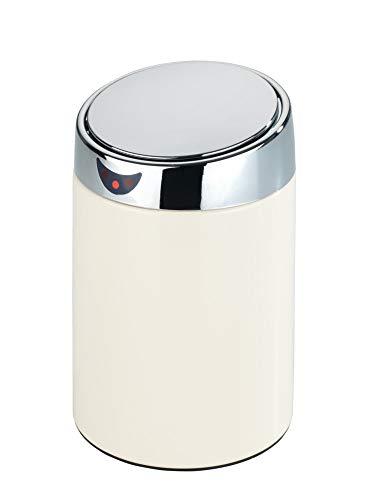 Wenko Sensor-Kosmetikeimer, Mülleimer Abfalleimer, öffnet und schließt automatisch, herausnehmbarer Innenbehälter, 12,5 x 20 cm, Edelstahl, 0,8 Liter, weiß