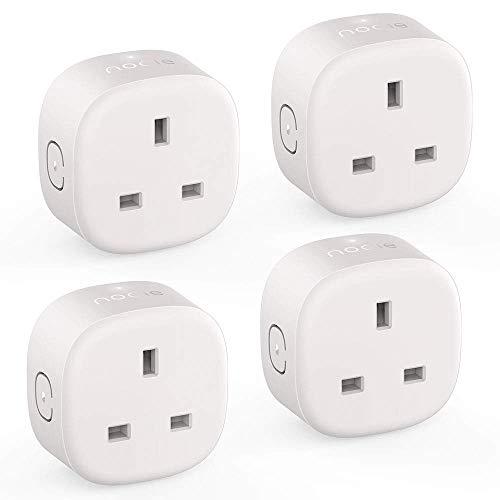 BONHEUR Smart Plug-Fi Enchufe Compatible con Alexa, Google Inicio, Wirels Socket Remoto Distribución Función Sin Hub 4 Paquetes requeridos