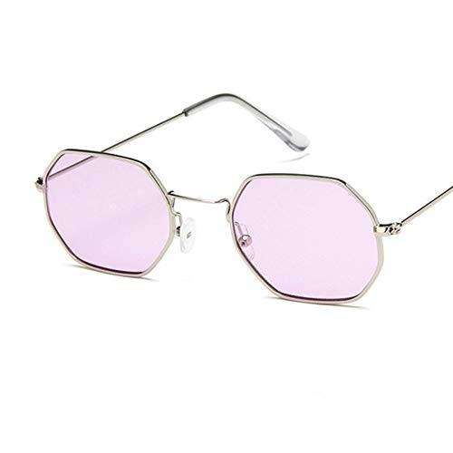 Zbertx Gafas de Sol de Moda para Mujer, pequeño Marco, polígono, Lentes de Sol, Gafas de Sol de Hombre, Gafas de Sol de época, Marco de Metal Hexagonal,Púrpura