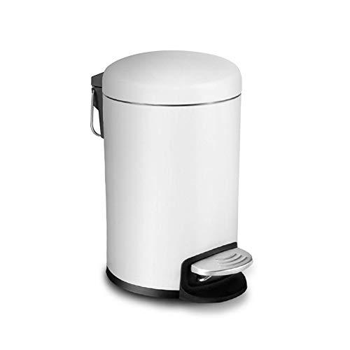 WY-Tong Paso Redonda Bote de Basura Blanca 5L ~ 12L papeleras de Pedal con Tapas de baño WC Dormitorio Cocina (Size : 8L)