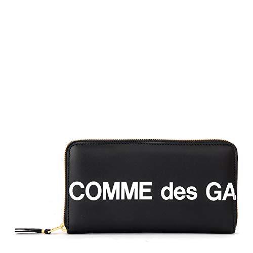 Comme Des Garçons Portemonnaie Wallet Huge Logo Rundum-Reißverschluss Leder Schwarz