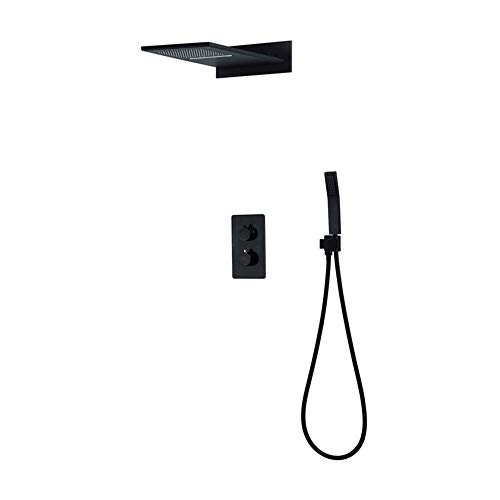 Amazing Deal Xihouxian Three Functions Fly Rain Top Spray Black Concealed Shower Into The Wall Type ...
