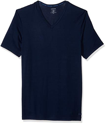 Calvin Klein Herren Ultra Soft Modal Short Sleeve V-Neck T-Shirt Pyjama-Oberteil (Top), Blau (Blue Shadow), Groß