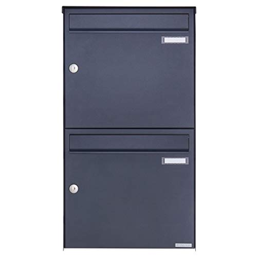 2er Aufputz Briefkastenanlage - 2 fach Wandbriefkasten Design BASIC 382A-7016 (Verzinkter Stahl, pulverbeschichtet in RAL 7016 anthrazitgrau, 2 Parteien, senkrecht)