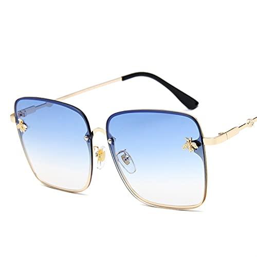 JIANCHEN Gafas de Sol Lujo Square Bee Gafas de Sol Mujeres Hombres Retro Marca Designer Metal Marco de Gran tamaño Gafas de Sol Femenino Grandiente Sombras Oculos (Color : 2)