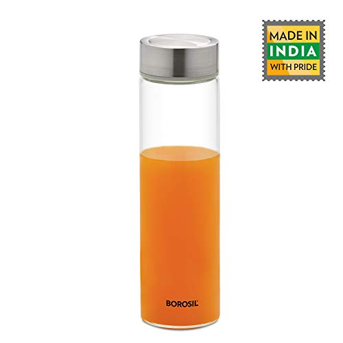 Borosil Neo Borosilicate Glass Water Bottle, Silver Lid, 550 ml - for Fridge and Office