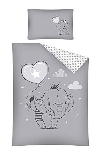 Baby Bettwäsche Set 2tlg. Elefant Grau 100% Baumwolle Größe: 100x135 cm, 40x60 cm, ÖkoTex Standard 100 (29301B)