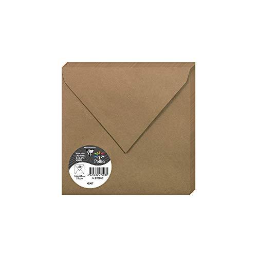 Clairefontaine 29003C - Un paquet de 20 enveloppes Pollen gommées 16,5x16,5 cm 120g, Kraft brun