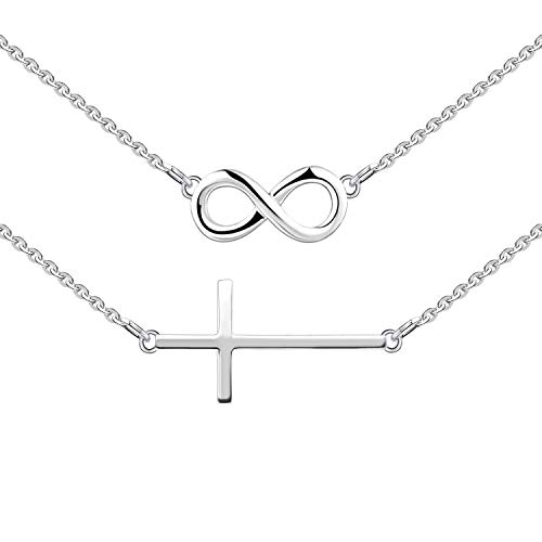 YL Sideways Cross Necklace Sterling Silver Infinity Criss Pendant Double Layered Choker Jewelry