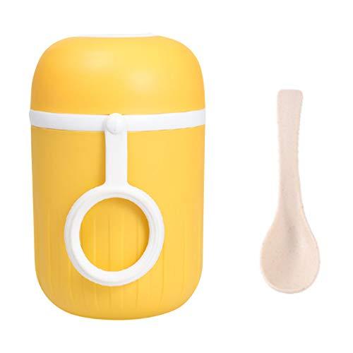 Mini frascos de vacío, taza de leche de café diseñada para niños y niñas, hombre con una cuchara, a prueba de fugas, botella de viaje (amarillo)