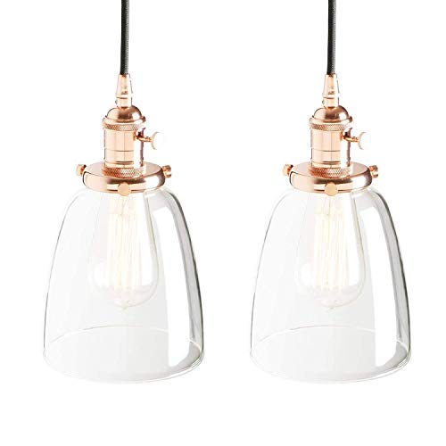SDHouse Lampadario Moderno Candelabro Ara?a Retro Lámpara Colgante Edison Cobre Enchufe para candelabro Iluminación Decorativa Lámpara de Vidrio Campana (Color:Negro) (Color : Kupfer)