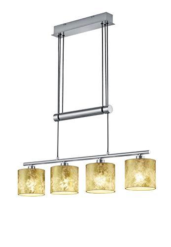 Trio Leuchten Jojo Pendelleuchte Garda, 305400479 Nickel matt, E14, Stoffschirm Goldfarbig, 13.5 x 77 x 150cm
