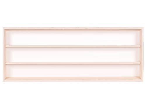 Alsino V60.3a Vetrina espositiva | 60 x 30 x 8,5 cm | in Legno di Betulla Non trattato | 3 Ripiani | 2 Ante plexiglass scorrevoli | con Guide | Modellismo | Collezionismo | Scala N e H0
