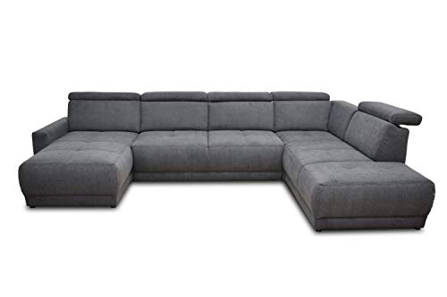 DOMO. collection AVA Sofa Wohnlandschaft mit Rückenfunktion in U-Form, Polsterecke Eckgarnitur, anthrazit, 167x351x222