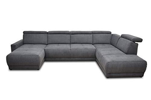 DOMO. collection AVA Sofa Wohnlandschaft mit Rückenfunktion in U-Form, Polsterecke Eckgarnitur, anthrazit, 167x351x222