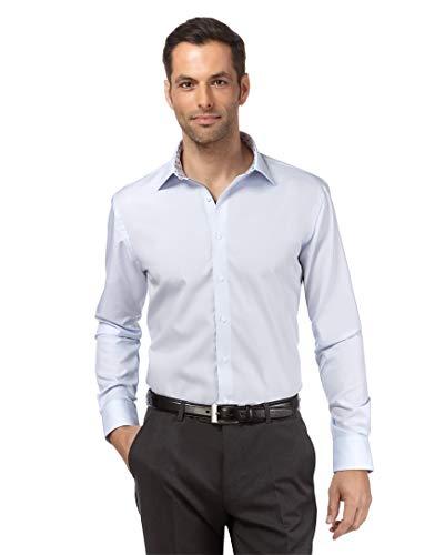 Vincenzo Boretti Herren-Hemd bügelfrei 100% Baumwolle Regular-fit Uni-Farben New-Kent Kragen - Männer lang-arm Hemden für Anzug Krawatte Business Hochzeit Freizeit eisblau/braun 45/46