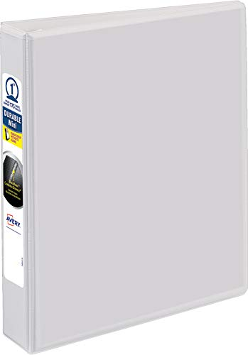 Avery Durable View 3 Ring Binder, 1 Inch, Round Rings, 5.5 Inch x 8.5 Inch, White, 2 Pockets, 175 Sheet...