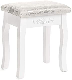 Mecor Vanity Stool Makeup Dressing Bench Carved Flowers Backless Padded Cushioned Seat Wood Legs (White)