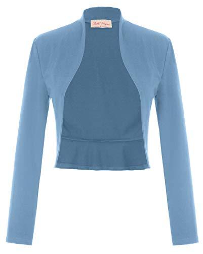 Belle Poque GF788 - Bolero Coprispalle da Donna, Vintage, a Maniche Lunghe, con Balze Blu...