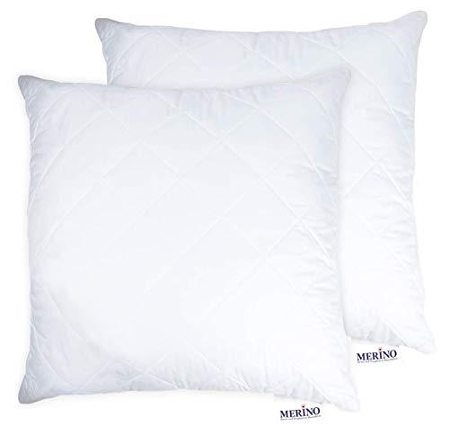 MERINO BETTEN Hochwertiges Schlafkissen 70x70 Set | Kopfkissen | Kissenhülle versteppt mit Reißverschluss | Serie Perle