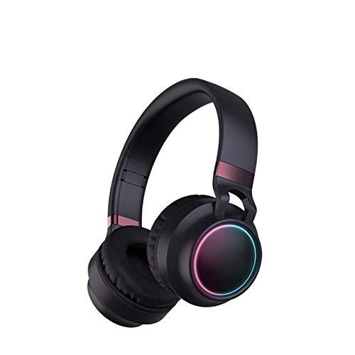 Cuffie Pieghevoli Cuffie Bluetooth 5.0 con LED Colorati, Cuffie sopra L'orecchio, Cuffie Stereo HiFi Wireless Pieghevoli, con Presa da 3,5 Mm per Scheda TF con Supporto Microfono Auricolari Stereo