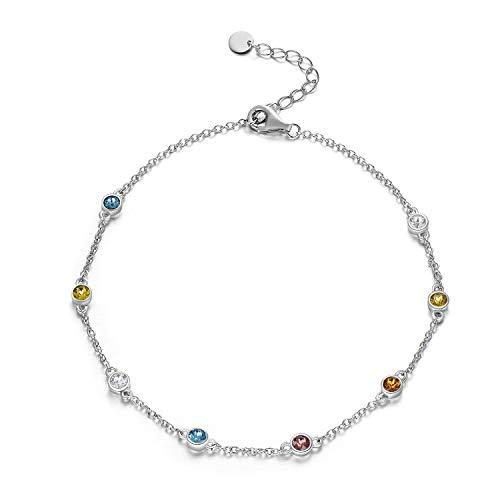Fußkettchen Sterling Silber 925 Damen Perlen Fusskettchen mit Kristalle von Swarovski 28cm