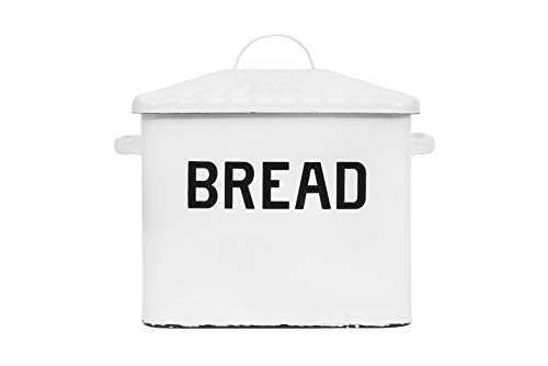 Creative Co-Op Enameled Metal Handles Rustic Farmhouse Storage Décor for Kitchen, White Bread Box with Lid