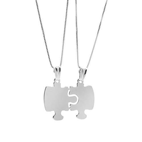 Remo Gammella - Collares divisibles para hombre y mujer, de plata 925, personalizables, con colgante en forma de puzzle, longitud 45 cm