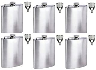 6 Groomsman's 5oz Stainless Steel Flask with Filling Funnel - Free Engraving