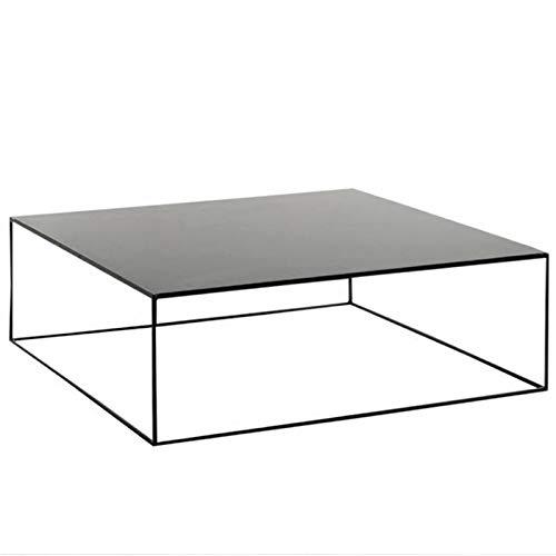Mesa de Centro Mesa de Estar Mesa de café Mesa de café Simple Casual Negro Metal Cuadrado Hierro Forjado Familia Mesa de Centro Multifuncional (Color : Black, Size : 100x100x40cm)