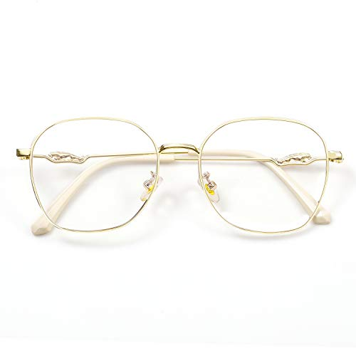 SaNgaiMEi Gafas Luz Azul,Gafas para Ordenador Anti luz Azul - Gafas con Filtro de luz Azul bloqueo de luz azul Evita la Fatiga Ocular para Hombre y Mujer (Oro)