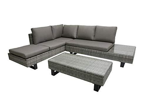 Garden Pleasure Gartenmöbel Set Lounge-Eckgruppe, 3-teilig, Aluminium, Kunststoffgeflecht, Grau