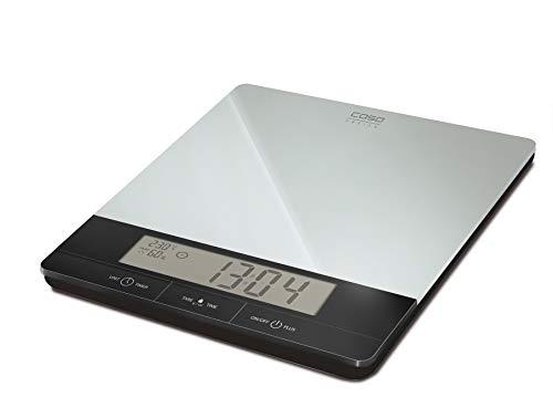 CASO I10 Design Küchennwaage, digitale Küchenwaage, großes LCD-Display, genauer Wiegesendor in 1 Gramm-Schritten bis 10 kg, integrierte Klimastation (Klima,Luftfeuchtigkeit und Temperatur werden gemessen)
