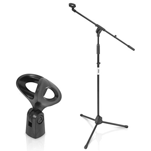 Pyle Foldable Tripod Microphone Stand - Universal Mic Mount and Height Adjustable from 37.5 to 65.0 Inch High w/ Extending Telescoping Boom Arm Up to 28.0 - Knob Tension Lock Mechanism PMKS3
