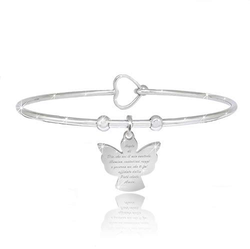 Saga Gioielli - Pulsera llamadora de ángeles de acero con diseño de ángel de dio.