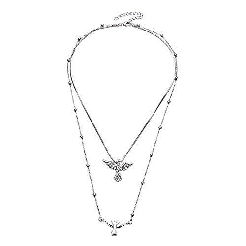 Qinlee - Collar para mujer con colgante de pájaro de estrás, multicapa, cadena para llavero, cadena para fiesta