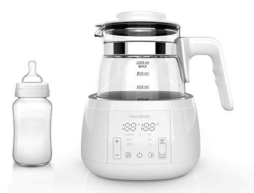 ÜneeQbaby - Bollitore con termostato integrato, per biberon, mantiene la temperatura desiderata fino a 24 ore in vetro borosilicato, sistema di raffreddamento integrato - SPINA UE