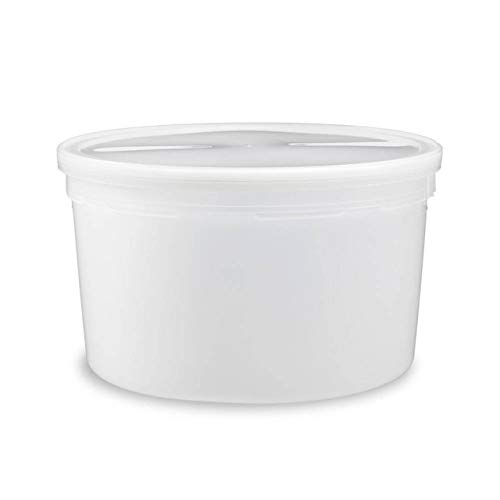 1 Gallon (128 oz) Food Storage Containers with Lids - Freezer and Microwave Safe Storage Containers, Round Plastic Containers with Lid, BPA Free, 3 Pack