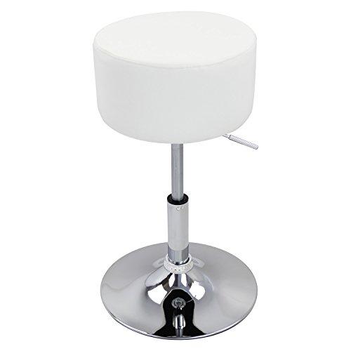 WOLTU BH14ws-1 Design Hocker mit Griff, stufenlose Höhenverstellung, verchromter Stahl, Antirutschgummi, pflegeleichter Kunstleder, gut gepolsterte Sitzfläche, weiß