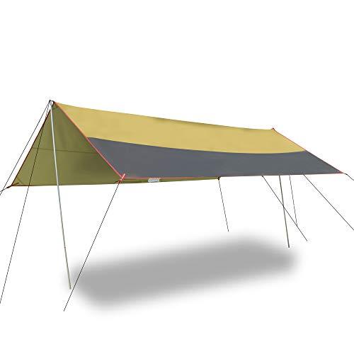 HIOD Toldo de Refugio de Camping Carpa para Moscas de Lluvia Impermeable a Prueba de Viento Ligero Refugio para Moscas de Lluvia, Sombrilla Portátil para Viajes, Senderismo, 3M X 3M,