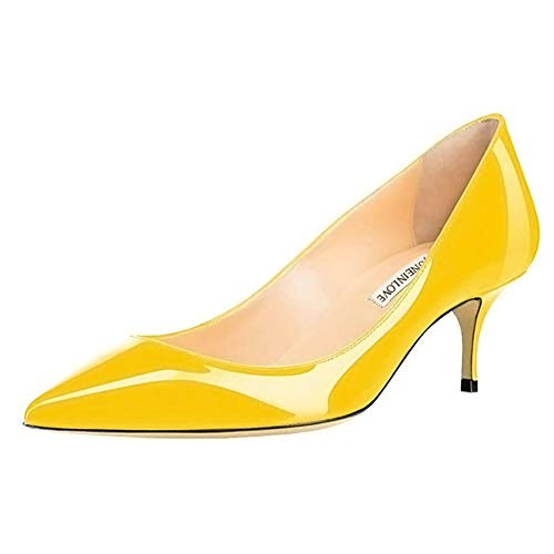 JOY IN LOVE Women's Shoes Low Heels Pointy Toe Kitten Heel Daily Pumps Yellow Size: 5 UK